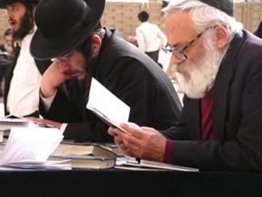Othodox Jews studying at Wailing Wall