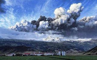 Volcano Plumes over Eyjafjallajokull Glacier in Iceland
